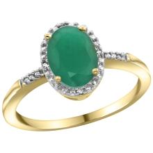 Natural 1.5 ctw Emerald & Diamond Engagement Ring 10K Yellow Gold - WSC#CY952113