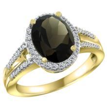 Natural 2.72 ctw smoky-topaz & Diamond Engagement Ring 10K Yellow Gold - WSC#CY907174
