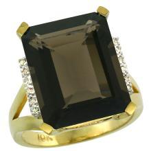 Natural 12.13 ctw Smoky-topaz & Diamond Engagement Ring 14K Yellow Gold - WSC#CY407143