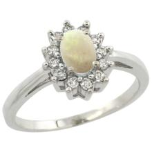Natural 0.47 ctw Opal & Diamond Engagement Ring 10K White Gold - WSC#CW920103