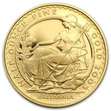 One 2005 Great Britain 1/2 oz Proof Gold Britannia - WJA61292