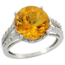 Natural 5.34 ctw Citrine & Diamond Engagement Ring 14K White Gold - WSC#CW409110