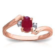 Genuine 0.46 ctw Ruby & Diamond Ring Jewelry 14KT Rose Gold  - WGG#3029
