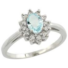 Natural 0.67 ctw Aquamarine & Diamond Engagement Ring 10K White Gold - WSC#CW912103