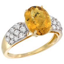 Natural 2.75 ctw quartz & Diamond Engagement Ring 14K Yellow Gold - WSC#R289771Y26