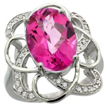 Natural 5.59 ctw pink-topaz & Diamond Engagement Ring 14K White Gold - WSC#R297191W06