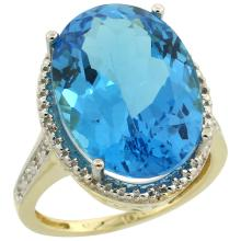 Natural 13.6 ctw Swiss-blue-topaz & Diamond Engagement Ring 10K Yellow Gold - WSC#CY904108