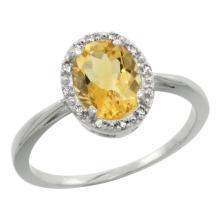 Natural 1.22 ctw Citrine & Diamond Engagement Ring 10K White Gold - WSC#CW909101
