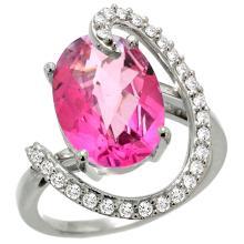Natural 5.89 ctw Pink-topaz & Diamond Engagement Ring 14K White Gold - WSC#R287971W06