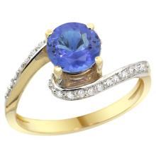 Natural 1.08 ctw tanzanite & Diamond Engagement Ring 10K Yellow Gold - WSC#10D312723Y48