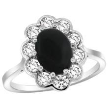 Natural 2.38 ctw Onyx & Diamond Engagement Ring 14K White Gold - WSC#C319661W17
