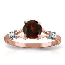 Genuine 1.07 ctw Garnet & Diamond Ring Jewelry 14KT Rose Gold  - WGG#1194