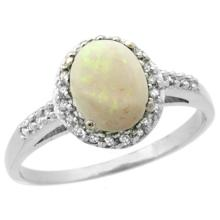 Natural 0.83 ctw Opal & Diamond Engagement Ring 14K White Gold - WSC#CW420137