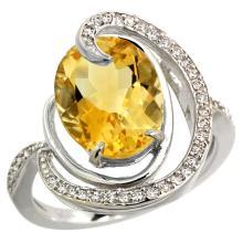 Natural 6.53 ctw citrine & Diamond Engagement Ring 14K White Gold - WSC#R289231W09