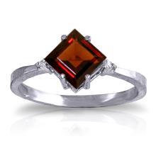 Genuine 1.77 ctw Garnet & Diamond Ring Jewelry 14KT White Gold  - WGG#1237