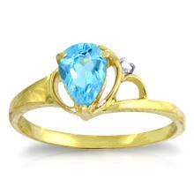 Genuine 0.66 ctw Blue Topaz & Diamond Ring Jewelry 14KT Yellow Gold  - WGG#1246