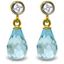 Genuine 2.73 ctw Blue Topaz & Diamond Earrings Jewelry 14KT Yellow Gold  - WGG#2955