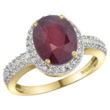 Natural 2.56 ctw Ruby & Diamond Engagement Ring 14K Yellow Gold - WSC#CY414138