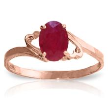 Genuine 1.15 ctw Ruby Ring Jewelry 14KT Rose Gold  - WGG#1639