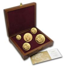One 2004 Great Britain 5-Coin Gold Sovereign Proof Set - WJA81821