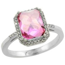 Natural 2.63 ctw Pink-topaz & Diamond Engagement Ring 10K White Gold - WSC#CW906122