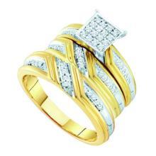 10K Yellow Gold Jewelry 0.29 ctw Diamond Trio Ring Set - WGD55157