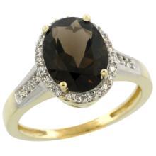 Natural 2.49 ctw Smoky-topaz & Diamond Engagement Ring 10K Yellow Gold - WSC#CY907109