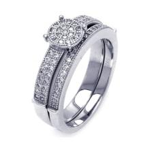 Sterling Silver Rhodium Overlay Micro Pave CZ Bridal Wedding Ring Set - WSP-acr00053