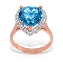 Genuine 6.44 ctw Blue Topaz & Diamond Ring Jewelry 14KT Rose Gold  - WGG#4876