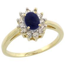 Natural 0.67 ctw Lapis & Diamond Engagement Ring 10K Yellow Gold - WSC#CY946103
