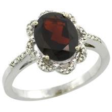 Natural 1.85 ctw Garnet & Diamond Engagement Ring 10K White Gold - WSC#CW910105