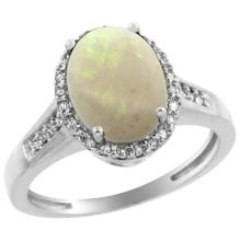 Natural 2.49 ctw Opal & Diamond Engagement Ring 10K White Gold - WSC#CW920109