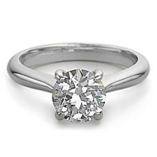 18K White Gold Jewelry 1.0 ctw Natural Diamond Solitaire Ring - ID#P220A4-WJA1312