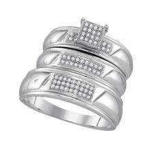 Fine Silver Jewelry 0.20 ctw Diamond Trio Ring Set - WGD86139