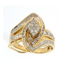 14K Yellow Gold Jewelry 0.90 ctw Diamond Bridal Ring Set - WGD18330