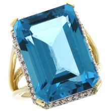 Natural 15.06 ctw Swiss-blue-topaz & Diamond Engagement Ring 10K Yellow Gold - WSC#CY904133