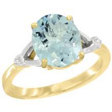 Natural 2.11 ctw Aquamarine & Diamond Engagement Ring 10K Yellow Gold - WSC#CY912112