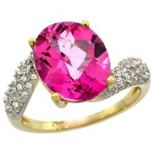 Natural 6.45 ctw pink-topaz & Diamond Engagement Ring 14K Yellow Gold - WSC#R293431Y06