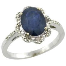 Natural 2.25 ctw Blue-sapphire & Diamond Engagement Ring 14K White Gold - WSC#CW416105