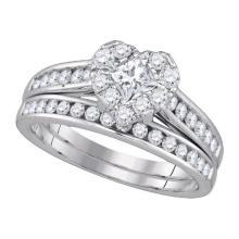 14K White Gold Jewelry 1.0 ctw Diamond Bridal Ring Set - WGD86820