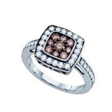 10K White Gold Jewelry 1.0 ctw White Diamond & Cognac Diamond Ladies Ring - WGD72201
