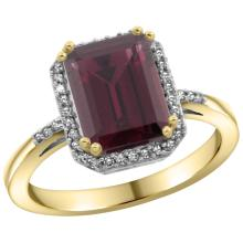 Natural 2.63 ctw Rhodolite & Diamond Engagement Ring 14K Yellow Gold - WSC#CY423122