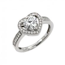 Sterling Silver Rhodium Overlay Clear Micro Pave Ring Set - WSP-gmr00009
