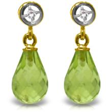 Genuine 2.73 ctw Peridot & Diamond Earrings Jewelry 14KT Yellow Gold  - WGG#2956