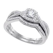 10K White Gold Jewelry 0.33 ctw Diamond Bridal Ring Set - WGD92202
