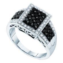 14K White Gold Jewelry 0.63 ctw White Diamond & Black Diamond Ladies Ring - WGD57503