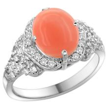 Natural 2.52 ctw coral & Diamond Engagement Ring 14K White Gold - WSC#R183071W45