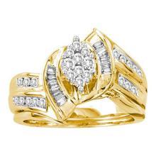 14K Yellow Gold Jewelry 0.65 ctw Diamond Bridal Ring Set - WGD18328