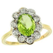 Natural 2.73 ctw Peridot & Diamond Engagement Ring 10K Yellow Gold - WSC#10C319661Y11