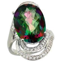 Natural 11.2 ctw mystic-topaz & Diamond Engagement Ring 14K White Gold - WSC#R309951W08